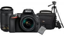 Nikon D5600 w/18-55mm, AF-P DX 70-300mm f/4.5-6.3G ED VR DSLR Camera w/Bag, Battery,& Tripod