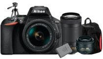Nikon D5600 w/18-55mm, 35mm & AF-P DX 70-300mm DSLR Camera w/Bonus Bag, Battery & Tripod