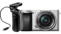 Sony Alpha A6100 Silver Vlogger Kits w/NEX 16-50mm f/3.5-5.6 Lens & Shooting Grip