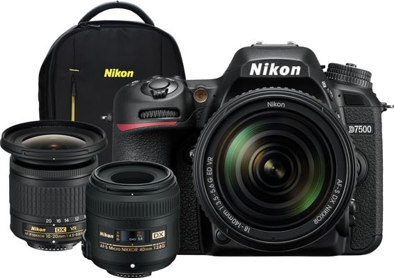 Nikon D7500 +/AF-S 18-140mm VR Lens,DX Landscape & Macro Kit, Bonus Backpack DSLR Camera