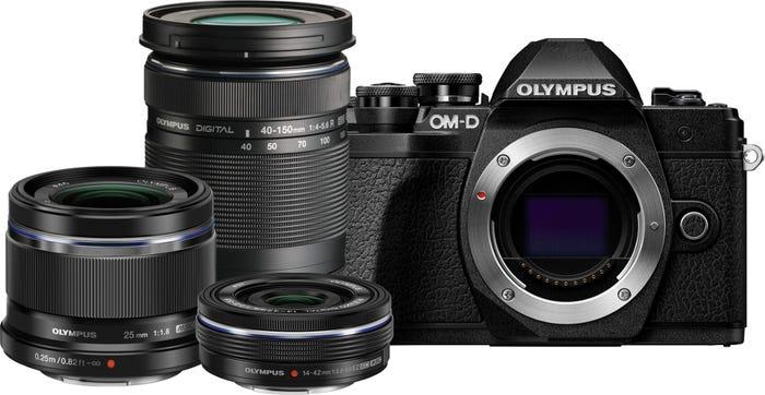Olympus OM-D E-M10 Mark III Black w/14-42mm EZ, 40-150mm & 25mm f/1.8 Lens CS Camera