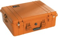 Pelican 1600 Orange Case with Padded Dividers