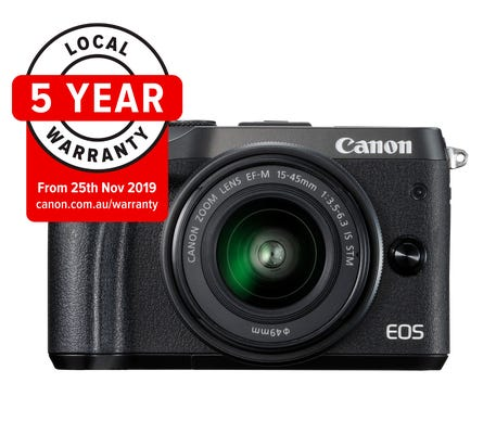 Canon EOS M6 MkII Black w/ EF-M 15-45mm Lens & EVFDC2 Compact System Camera