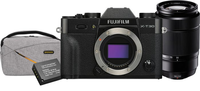FujiFilm X-T30 Black body w/XF 18-55mm f/2.8-4R & XC50-230mm f/4.5-6.7 BONUS Bag & Battery