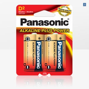 Panasonic D Size 2 Pack Alkaline Battery