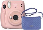 Fujifilm Instax Mini 11 Instant Camera - Blush Pink with Chambray Bag