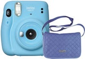 Fujifilm Instax Mini 11 Instant Camera - Sky Blue with Chambray Bag