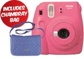 Fujifilm Instax Mini 9 Instant Camera - Flamingo Pink with Chambray Bag