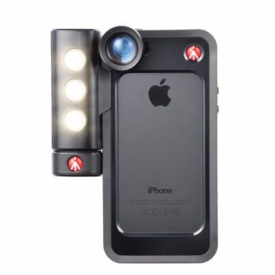 Manfrotto Klyp+ LED Light, Black Bumper Case & Set of 3 Lenses Kit for iPhone
