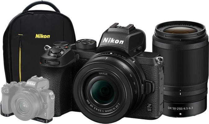 Nikon Z 50 w/Nikkor Z DX 16-50 VR,Z DX 50-250mm VR Lens,Small Rig Bkt,Bag Mirrorless Camera