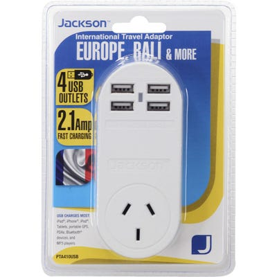 Jackson Outbound 4 x USB Travel Adaptor - Europe-Fast Charge 2.1A
