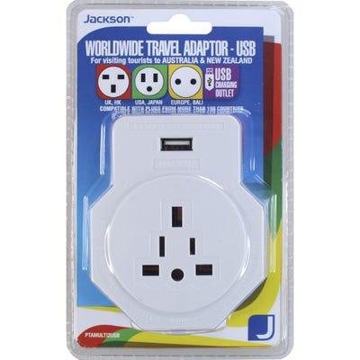 Jackson Inbound USB Travel Adaptor - Worldwide-Surge Protected