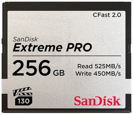 SanDisk Extreme PRO CFast 2.0 525MB/s - 256GB Memory Card