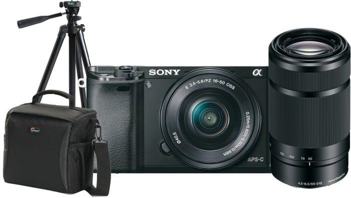 Sony Alpha A6000 Black w/SELP 1650, 55-210mm f/4.5-6.3 Lens, Bonus Bag & Tripod CS Camera