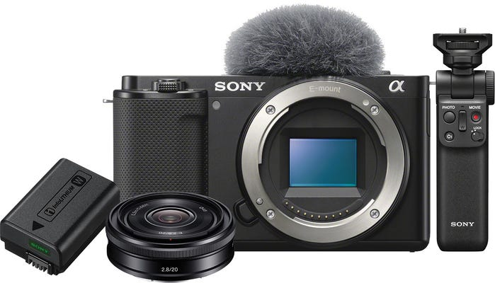 Sony ZVE10 Black Body w/20mm f/2.8 Lens,Grip &Bonus Battery Compact System Camera