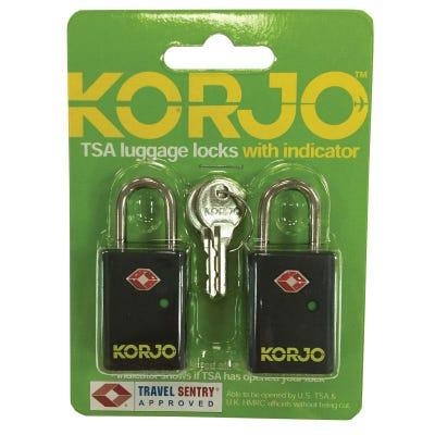 "Korjo TSA ""Keyed"" Locks w/ Indicator (2 Pack)"