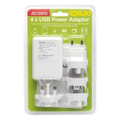 Korjo 4 Port USB Adapter for Worldwide Travel
