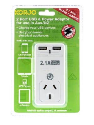 Korjo 2 Port USB Power Adaptor Aus