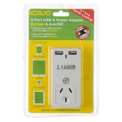 Korjo 2 Port USB Power Adaptor Europe & Aus
