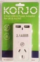 Korjo 2 Port USB Power Adaptor UK & Aus