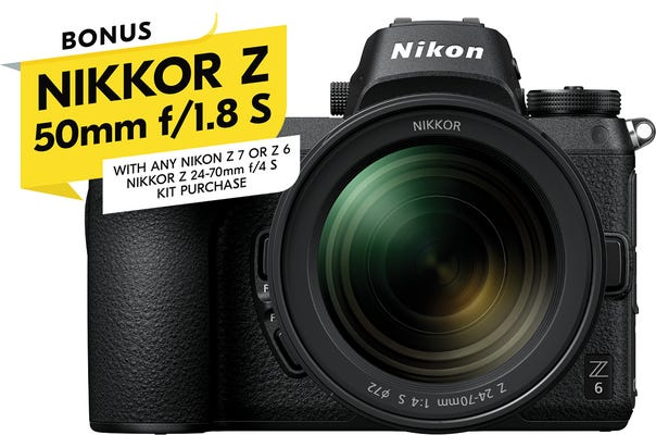 Nikon Z 6 Full Frame Mirrorless Camera w/Nikkor Z24 -70mm f/4S & BONUS 50mm f1.8S