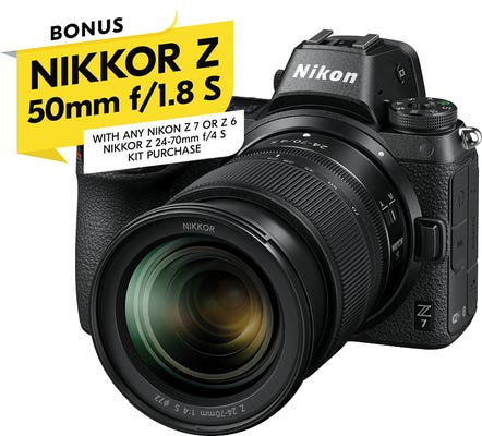 Nikon Z 7 Full Frame Mirrorless Camera w/Nikkor Z24 -70 f4S & BONUS Z50mm f1.8S