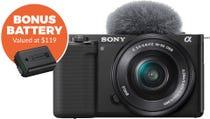 Sony ZVE10 Black Body w/16-50 mm f/3.5-5.6 Lens Compact System Camera w/Bonus Battery