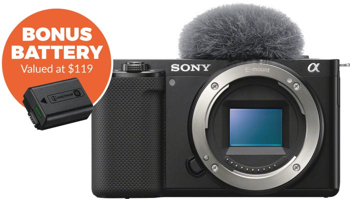 Sony ZVE10 Black Body Compact System Camera w/Bonus Battery