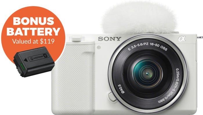 Sony ZVE10 White Body w/16-50 mm f/3.5-5.6 Lens Compact System Camera w/Bonus Battery