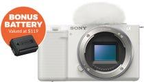 Sony ZVE10 White Body Compact System Camera w/Bonus Battery